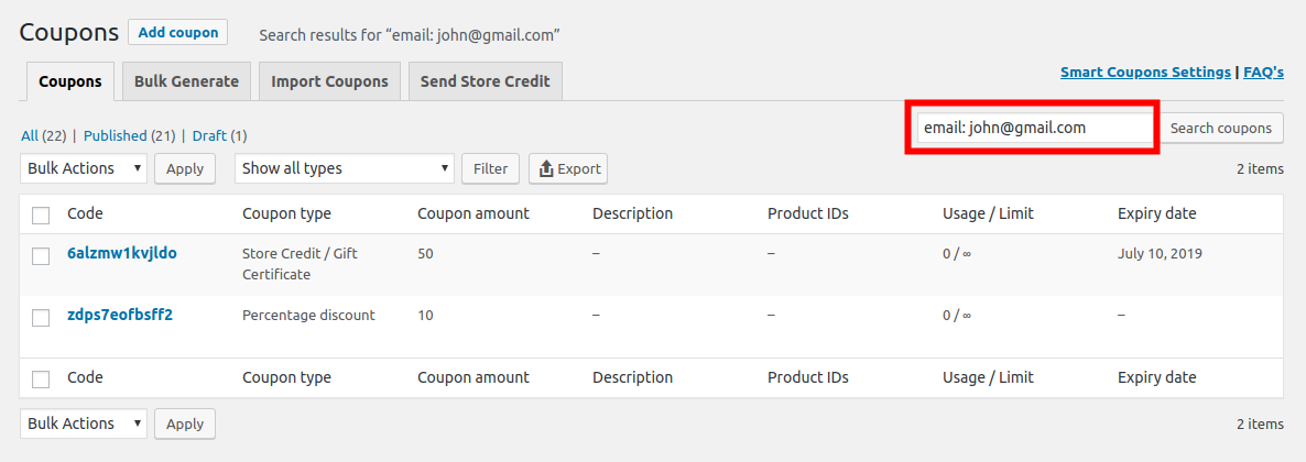 Find coupon by email restriction