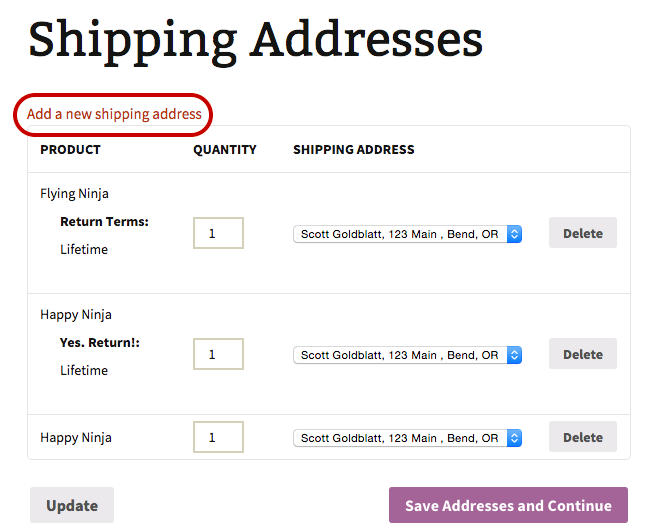 shipping multiple addresses woocommerce docs