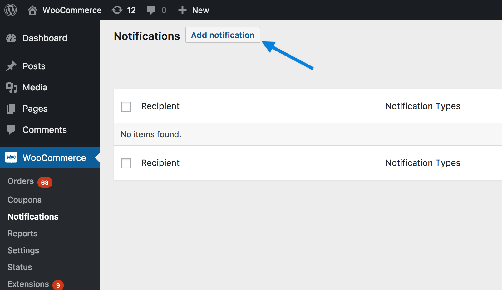 WooCommerce Advanced Notifications - Notifications Screen