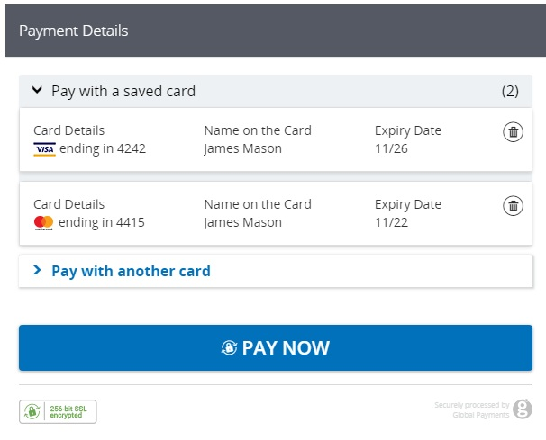 WooCommerce Global Payments HPP using saved cards