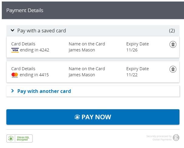 WooCommerce Global Payments HPP: uso de tarjetas guardadas