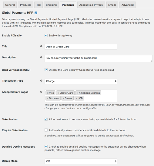 WooCommerce Global Payments settings 1