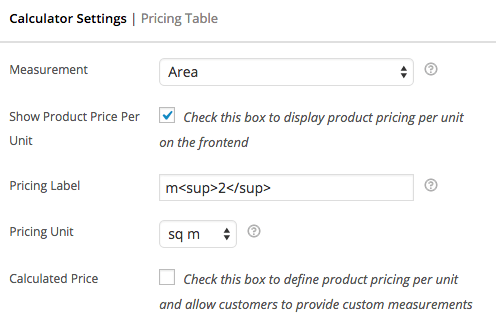 WooCommerce measurement price calculator price label