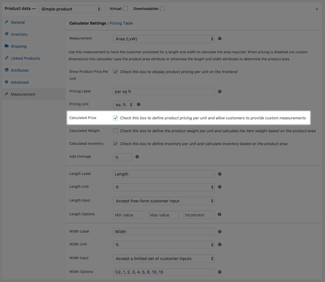 WooCommerce Measurement Price Calculator user defined mode