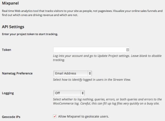 WooCommerce Mixpanel API Settings