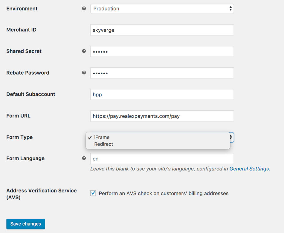WooCommerce Global Payments HPP account settings