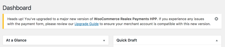 WooCommerce Global Payments HPP upgrade notice