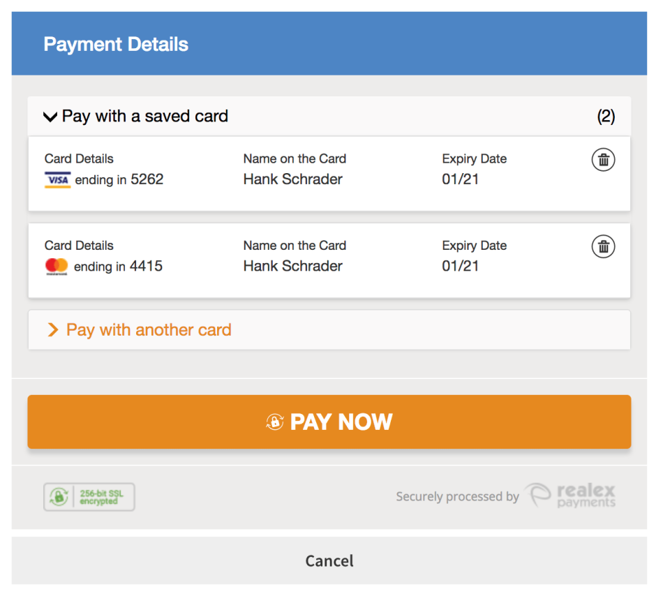 WooCommerce Realex HPP using saved cards