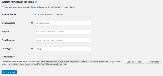 Waitlist Admin New Signup Notification Email Settings