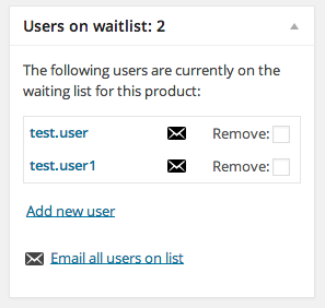 WooCommerce Waitlist meta box screenshot