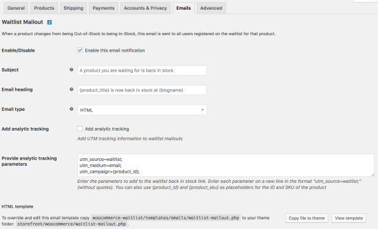 Email options for the waitlist plugin on the email settings screen