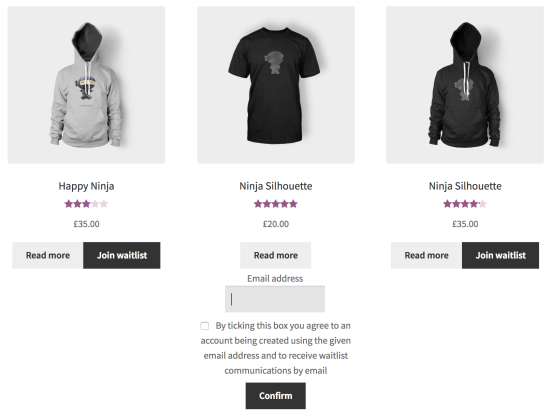 Example of a product archive page with waitlist elements displayed