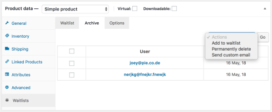 Example of the waitlist archive tab showing the available options
