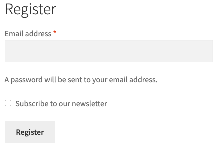 Subscribe to the newsletter in the register form
