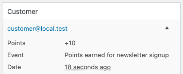 Rewarded points for subscribing to the newsletter
