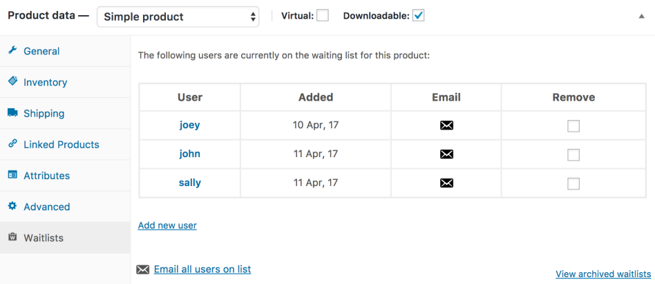 An example of the waitlist tab on a single product admin page
