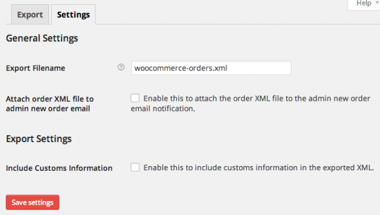 WooCommerce Stamps.com Export Settings