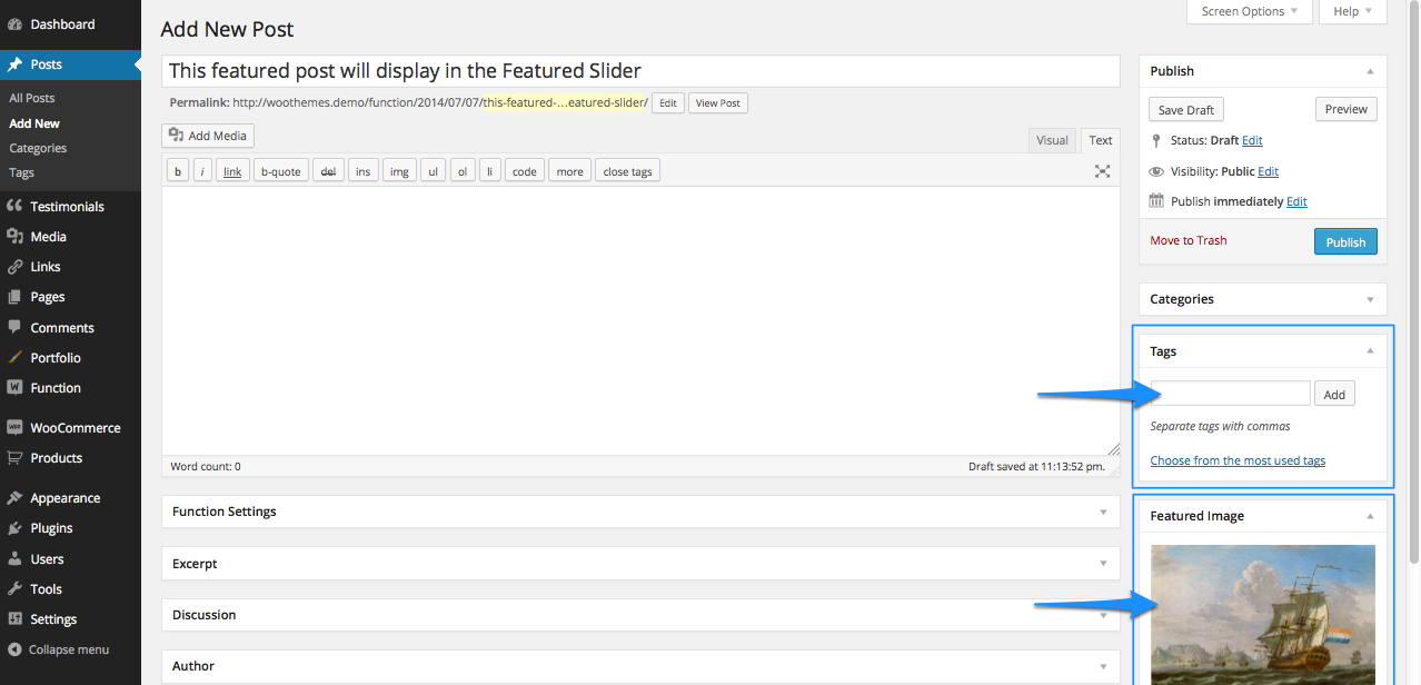 Create a new post to add to your homepage featured slider by adding the featured slider tag and image or video.