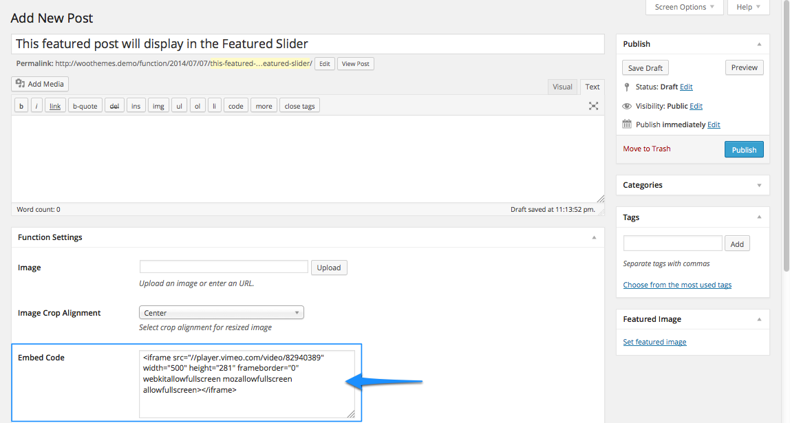 Paste video embed code in the Function Custom Settings Panel for the featured slider.