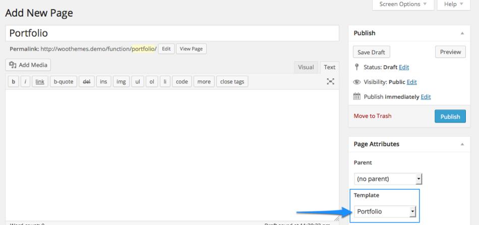 Create new Page > Set 'Portfolio' page template.