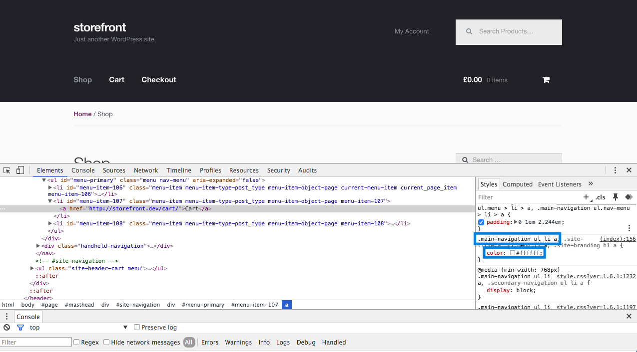 Styles to visible in Chrome Dev Tools