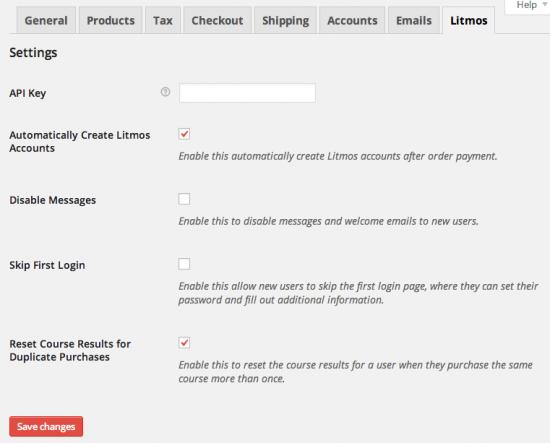 WooCommerce Litmos Admin Settings