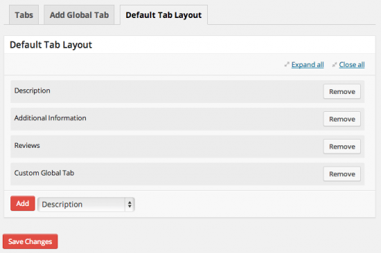 WooCommerce Tab Manager Default Tab Layout