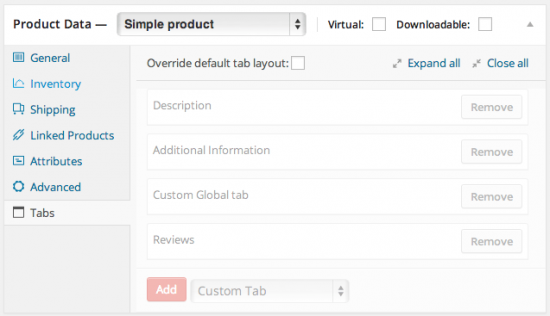 WooCommerce Tab manager default tabs