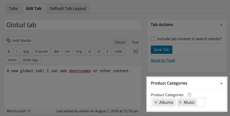 WooCommerce Tab Manager: Global tab categories