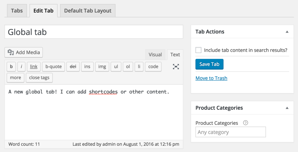 WooCommerce Tab Manager - new global tab