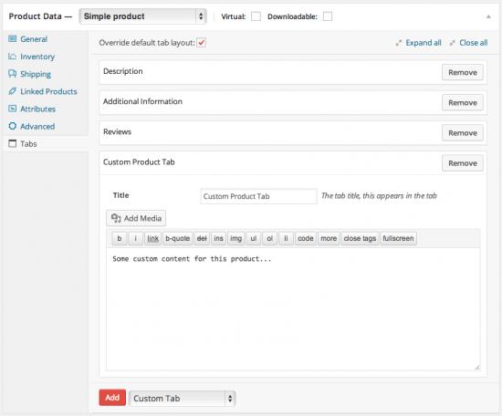 WooCommerce Tab Manager Fügen Sie benutzerdefinierte Produktregisterkarten hinzu