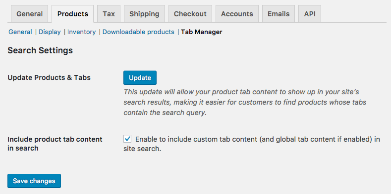 WooCommerce Tab Manager: Settings