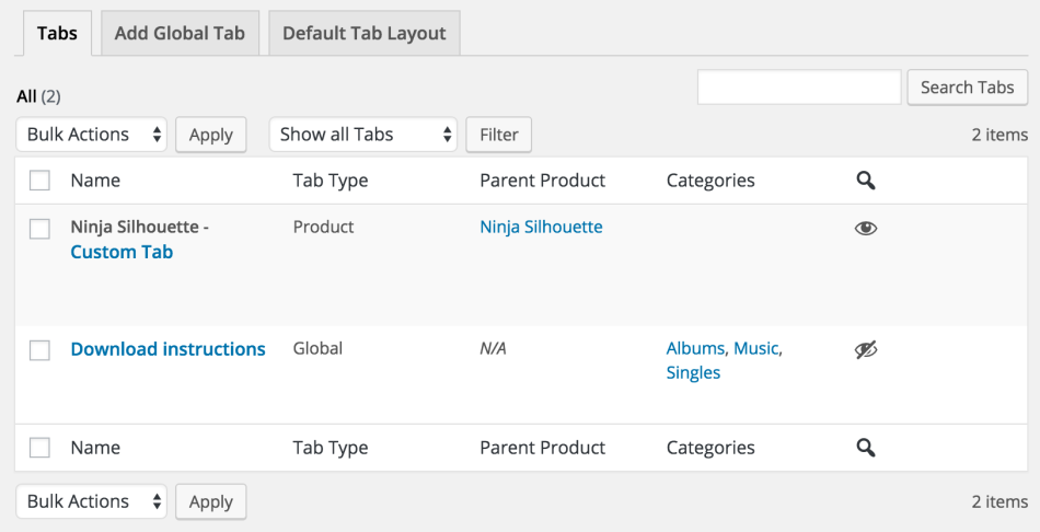 WooCommerce Tab Manager - Tab List