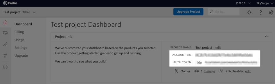 WooCommerce Twilio: get API credentials
