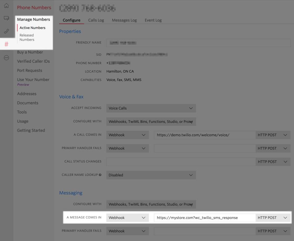 WooCommerce Twilio Return SMS account settings
