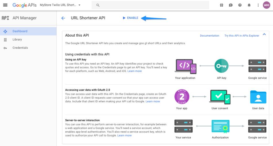 WooCommerce Twilio enable URL shortener