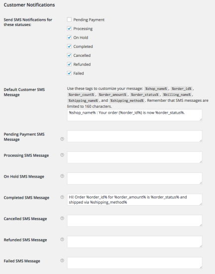 WooCommerce Twilio Customer Notification Settings