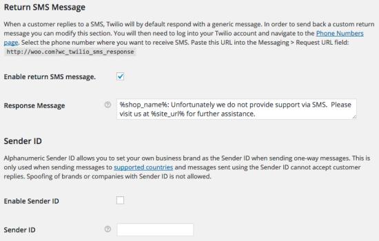 WooCommerce Twilio Return SMS / Sender ID settings