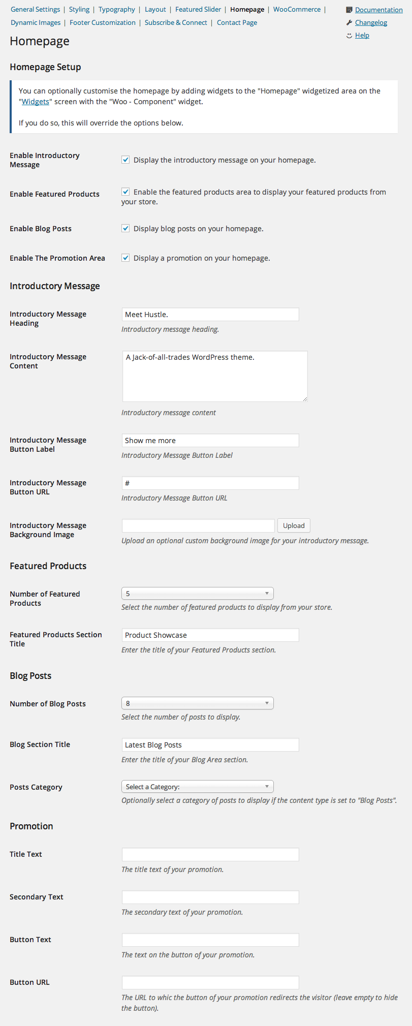 hustle-homepage-settings