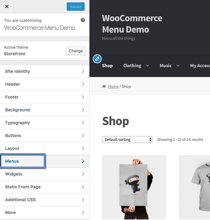 Menus - WooCommerce Docs