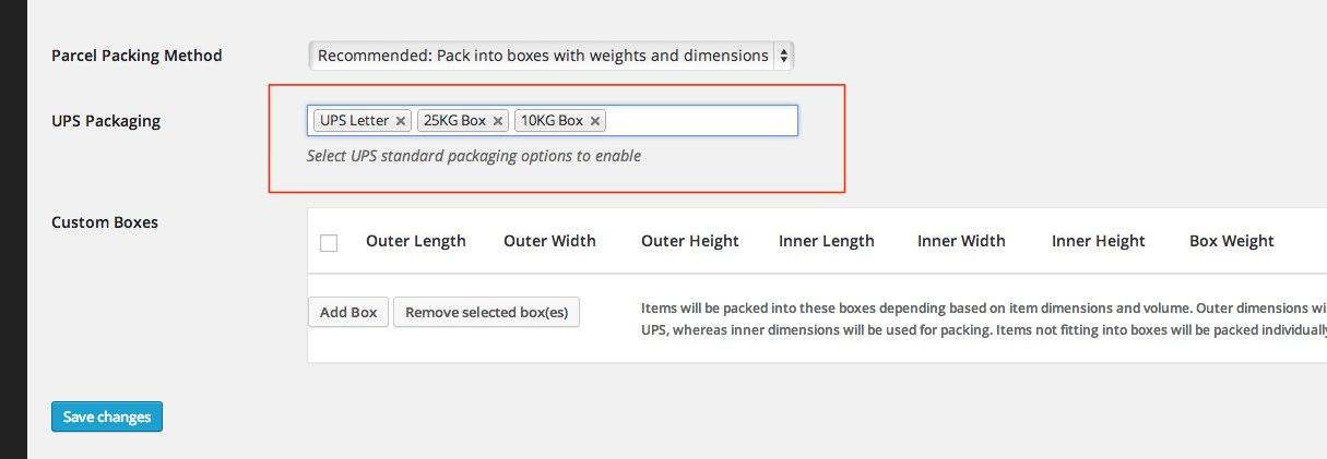UPS-Packaging-Settings