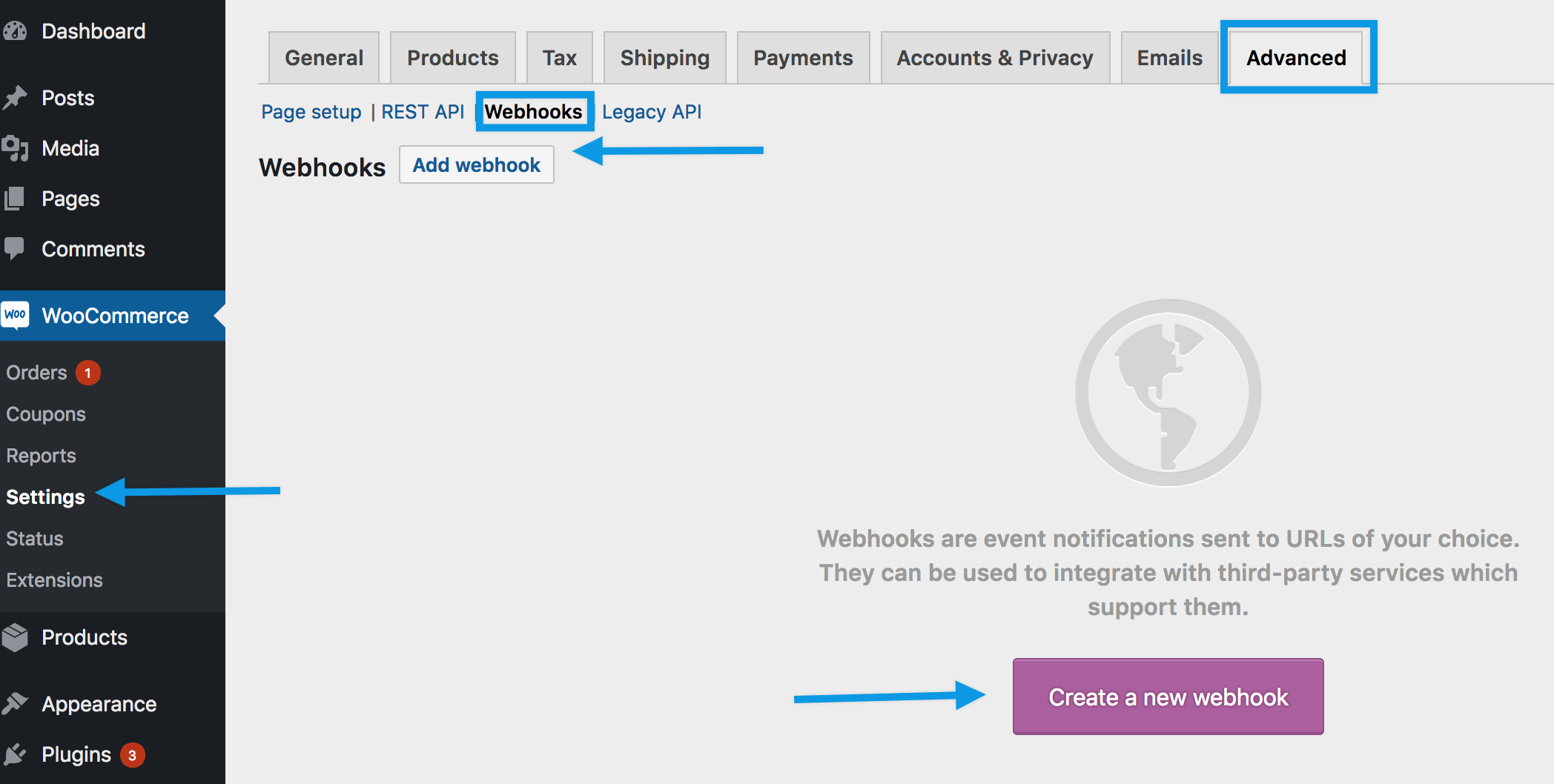 Using Webhooks - WooCommerce Docs