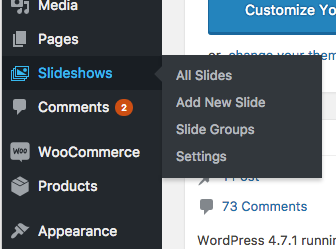 WooSlider in WordPress admin
