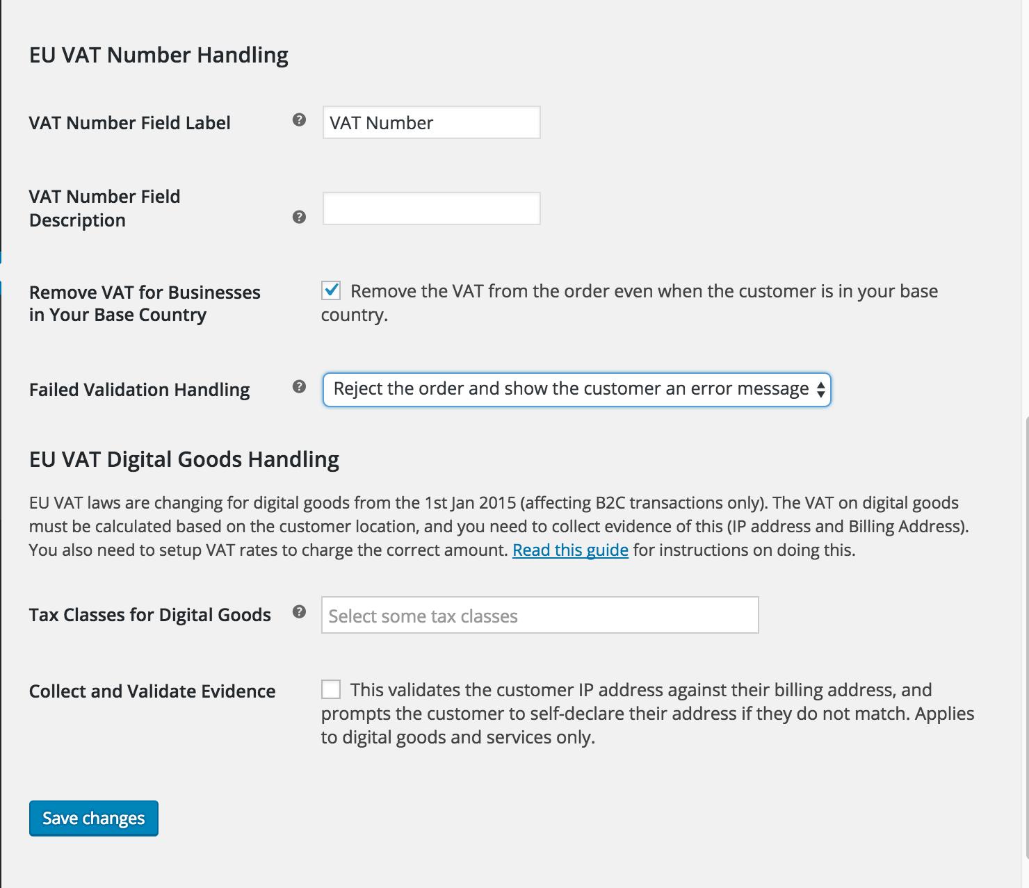 EU VAT number settings