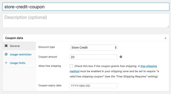 Creating a Store Credit coupon manually