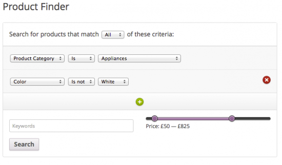 The Product Finder form as it appears in the Twenty Twelve theme