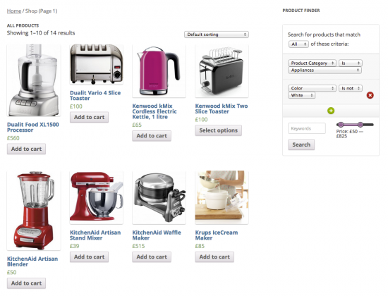 The Product Finder displayed alongside its search results