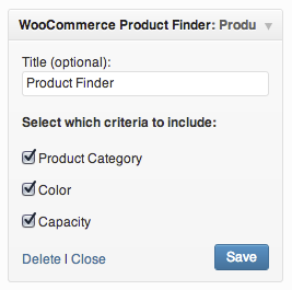 The Product Finder widget settings