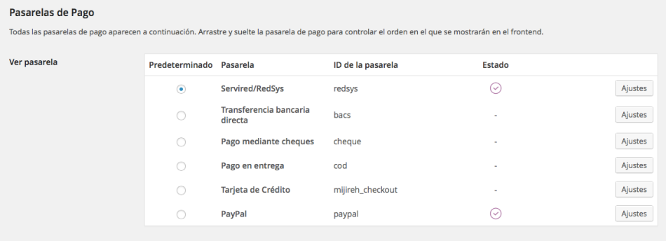 Pasarela de pago Redsys para WooCommerce (seleccionar)