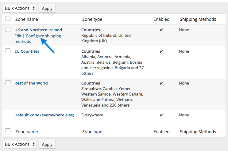 a screenshot of the table of zones - WooCommerce Docs